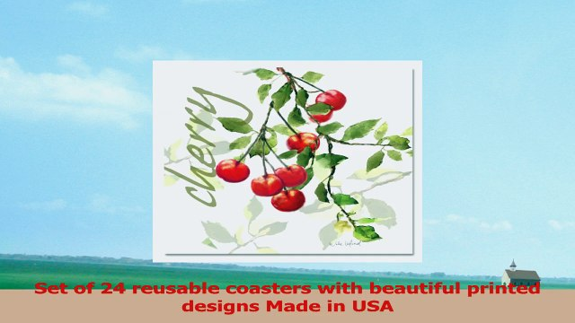 CounterArt 24Pack Pulpboard Paper Coasters Julies Cherries 802423e2