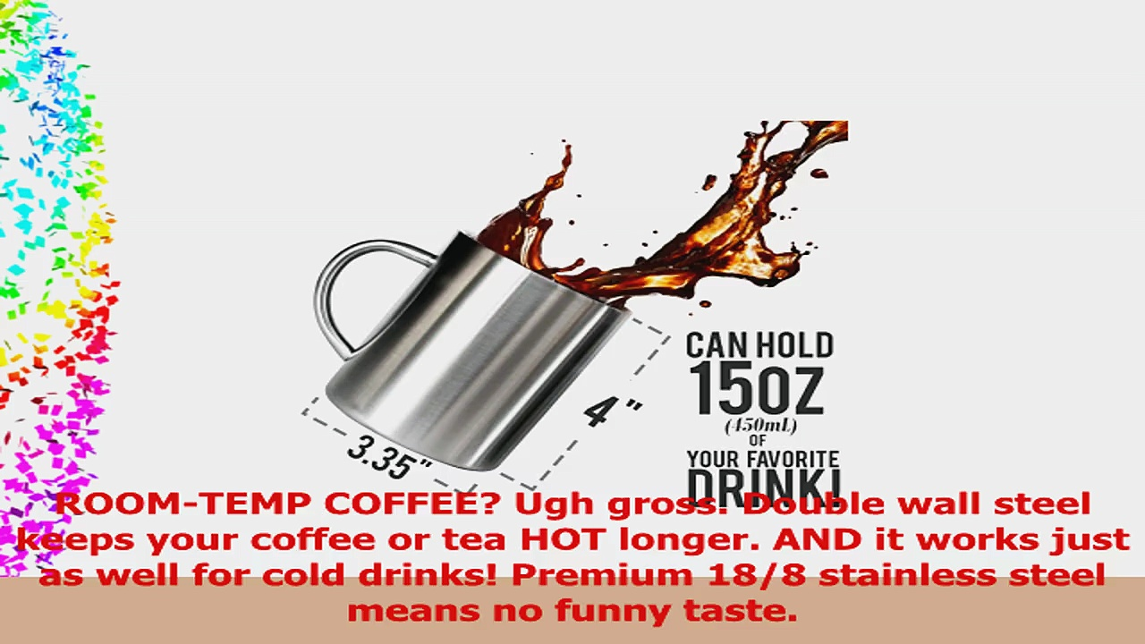 Stainless Steel Double Wall Mugs  Perfect for Coffee and Tea  Set of 2 15oz 450mL 2 803451a9