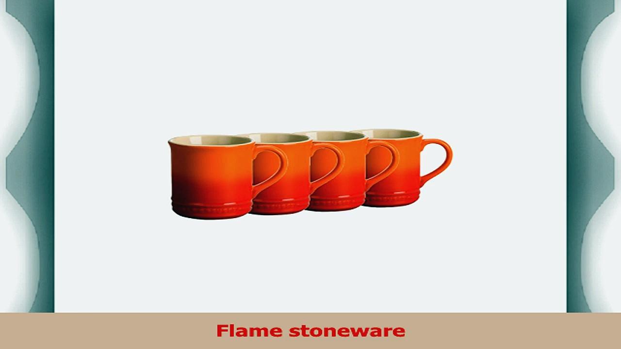 Le Creuset Flame Stoneware 12 Ounce Coffee Mug Set of 4 8897aaf9