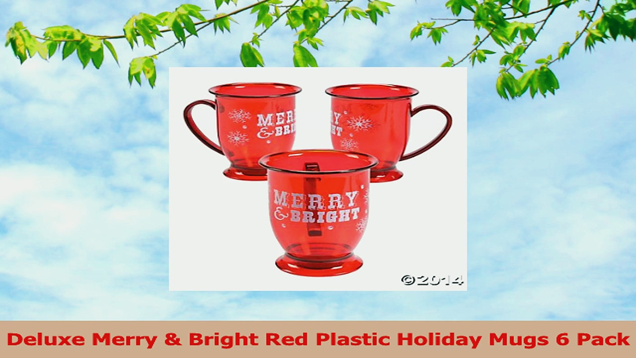 Deluxe Merry  Bright Red Plastic Holiday Mugs 6 Pack ec29195b
