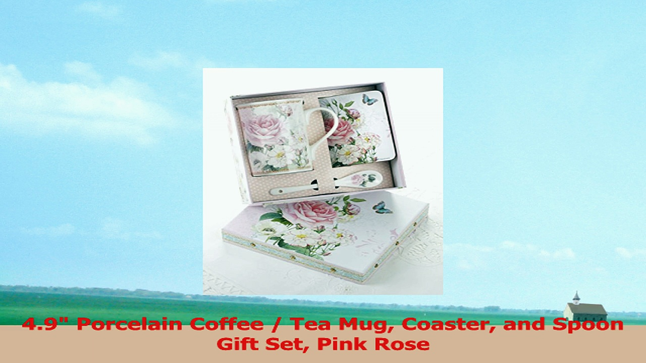 49 Porcelain Coffee  Tea Mug Coaster and Spoon Gift Set Pink Rose 1f91bcb2