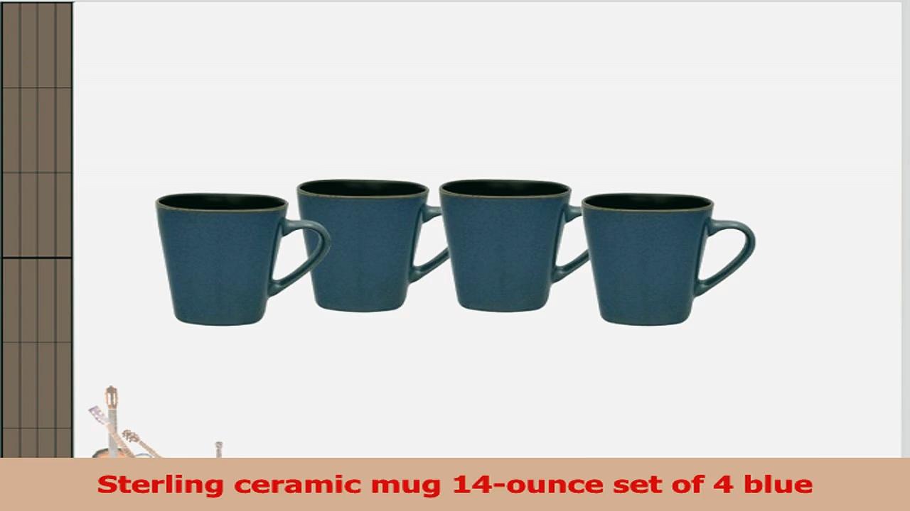 Culver 14Ounce Sterling Ceramic Mug Blue Set of 4 66da27f6