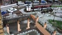 Temporal Asturias: Fuerte granizada y desbordamiento del alcantarillado en Candás