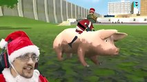 AMAZING FROG SANTA rides DEMON PIG! MERRY FARTING CHRISTMAS! Blimp Crashing 3x Rollover_2