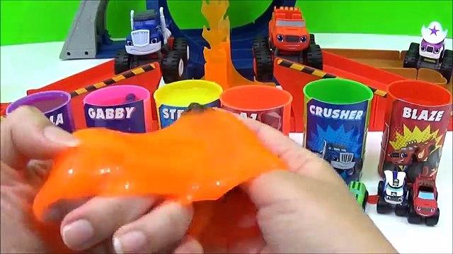 Blaze & The Monster Machines Slime Toys Surprises! Learn Colors, Blaze, AJ, Crusher Race Video, Kids