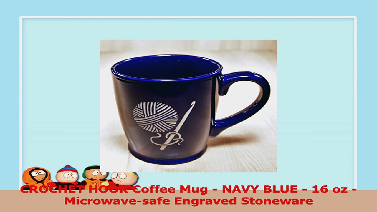 CROCHET HOOK Coffee Mug  NAVY BLUE  16 oz  Microwavesafe Engraved Stoneware bfe517e3