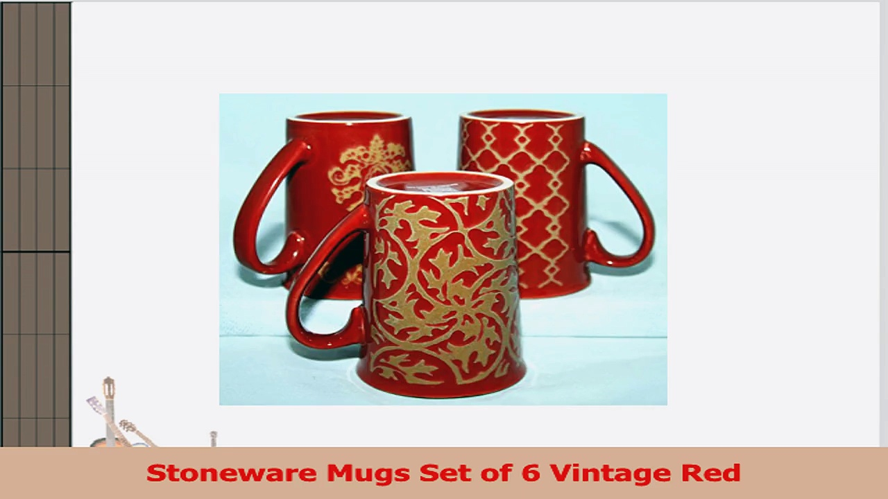 Stoneware Mugs Set of 6 Vintage Red 16c4b721