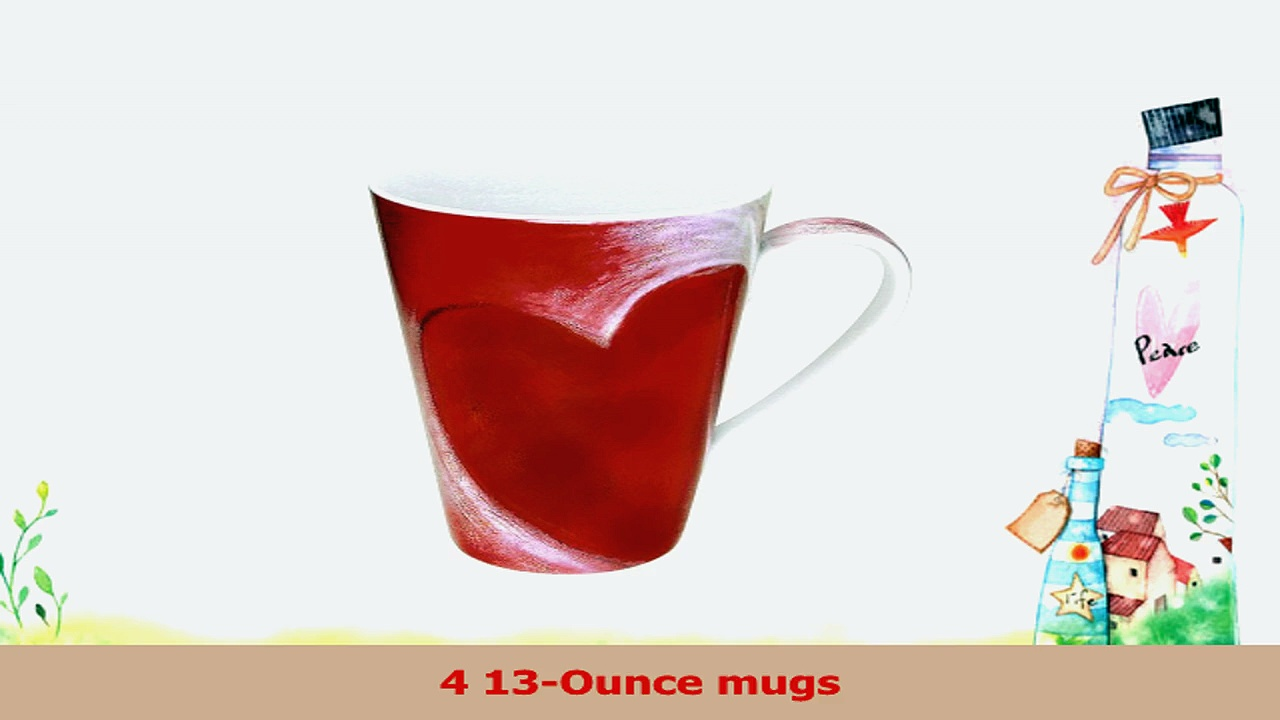 Konitz 13Ounce Big Heart Mugs Assorted Set of 4 a69b9d33