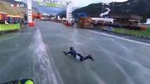 Une patineuse chute à quelques mètres de la ligne d'arrivée