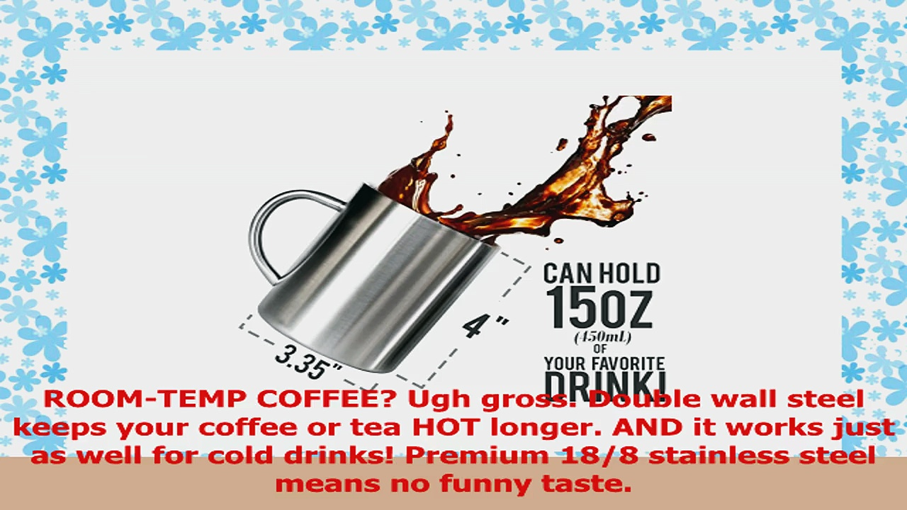 Stainless Steel Double Wall Mugs  Perfect for Coffee and Tea  Set of 2 15oz 450mL 2 135be010