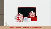 Tea Mug  Tea for Two  Red Cherry Blossom with Good Fortune Cups  Silk Gift Box ba64b260