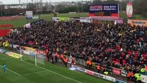 Swindon fans antagonise Oxford supporters during League One match