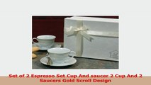 Set of 2 Espresso Set Cup And saucer 2 Cup And 2 Saucers Gold Scroll Design 2d34a88d