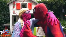 Pink Spidergirl Frozen Elsa vs MINIONS! Minions walking on SpiderElsa - Fun Superheroes by SHMIRL