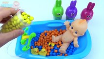 Baby Doll Bath Time Learn Colors Candy Skittles M&Ms Surprise Toys Sofia the First Collection