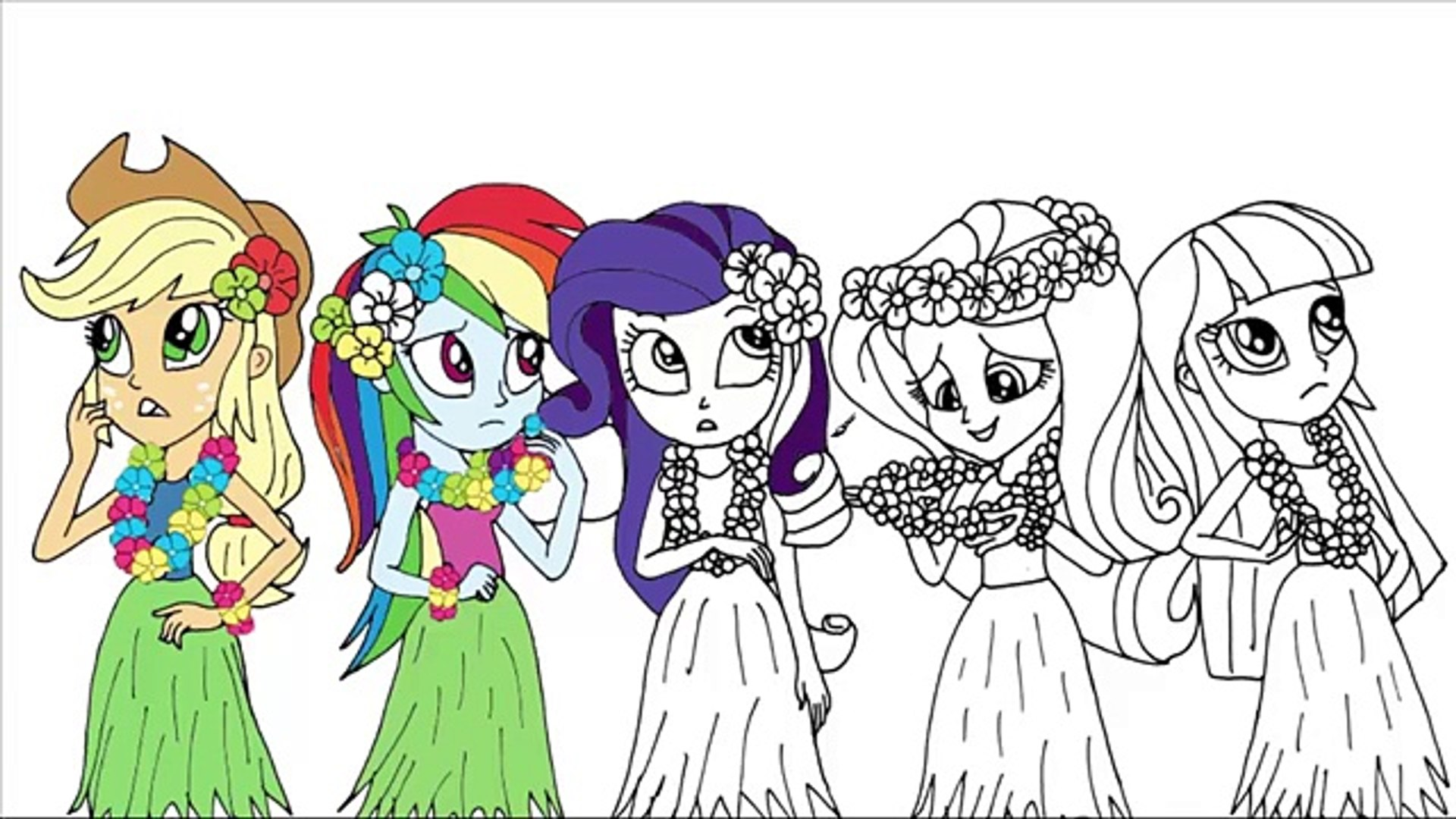 My Little Pony Coloring Page My Little Pony Girls Coloring Book Equestria Girls In Grass Skirts