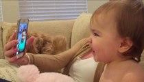 Très drôle, une petite fille parle en Facetime avec une autre !