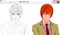 How I Draw using Mouse on Paint - Light Yagami - Death Note