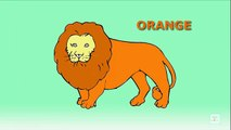 Lion Jungle King Colors for Children, Learning Colors with Lion Cartoon, Lion Coloring Pages