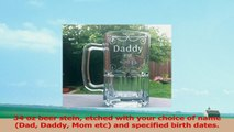 34 oz beer stein etched with your choice of name Dad Daddy Mom etc and specified birth 1cb95264
