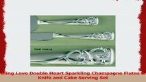 Wedding Bling Love Double Heart Sparkling Champagne Toasting Wedding Party Flutes Set of 2 a7271a55