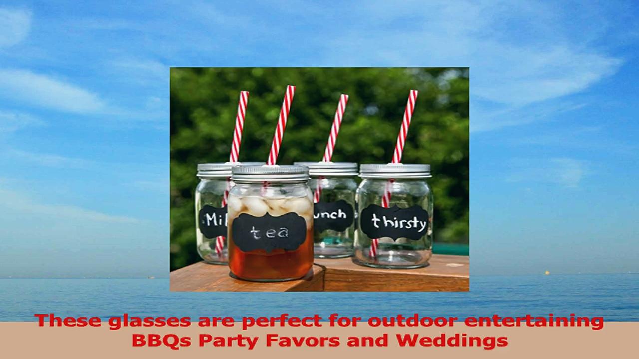 Chalkboard Mason Jar Mugs with Tin Lid Plastic Straws and Chalk 16 Oz Each Old Fashion 0bada294