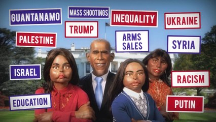 White House departure : Barack Obama and his daughters - The Guignols - CANAL+