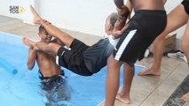 Jogadores do Santos 'se vingam' de fisioterapeuta após treino na piscina