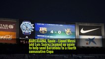 BARCELONA, Spain — Lionel Messi and Luis Suárez teamed up again to help send Barcelona to a fourth consecutive Copa