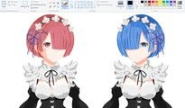 How I Draw using Mouse on Paint  - Ram and Rem Re:Zero
