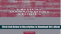 [Read Book] Critical Management Studies: A Reader (Oxford Management Readers) Mobi