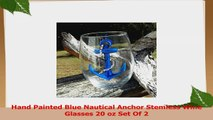 Hand Painted Blue Nautical Anchor Stemless Wine Glasses 20 oz Set Of 2 f104ee4a