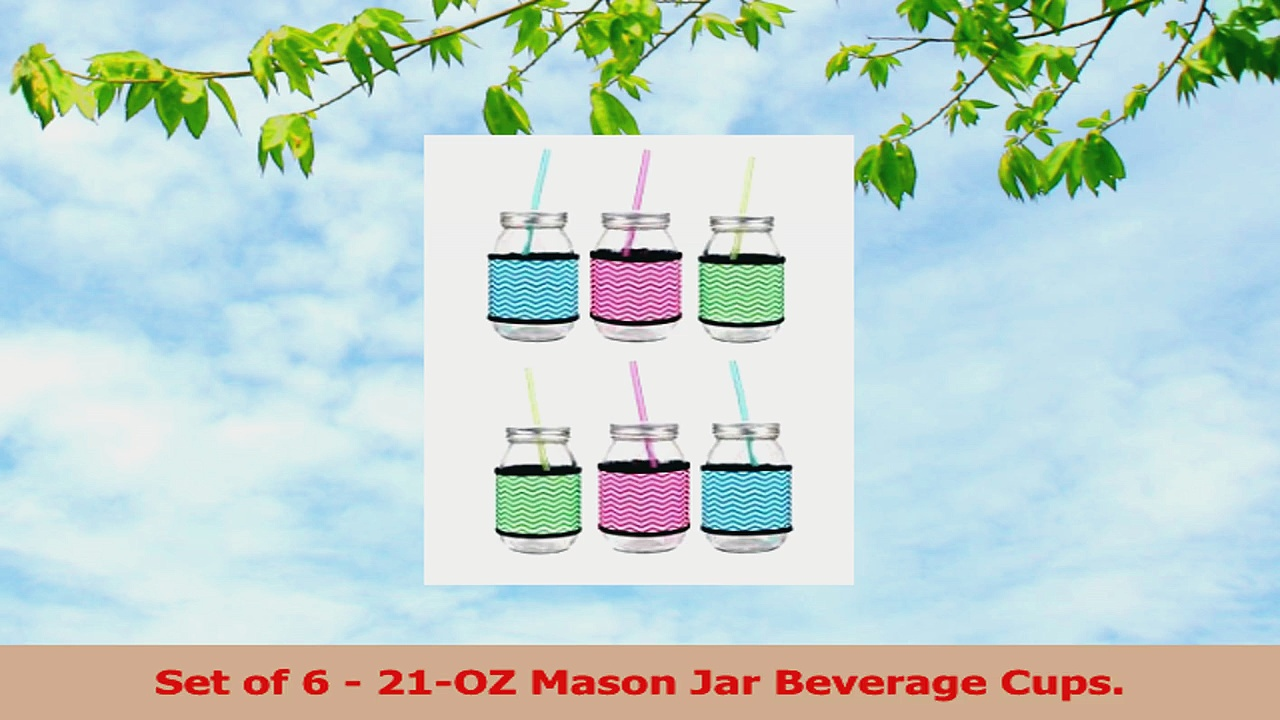 Set of 6 Clear Glass Mason Jars with Chevron Insulated Sleeves with Metal Lids  Plastic 7eb9b499