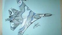 How to draw the fighter jet Sukhoi Su-27 Russian, Como dibujar avion de combate el Sujói Su-27 Ruso