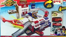 Fastlane Rescue Station - Stop motion Fire Engine Truck Rescue Helicopter Police Car Die Cast