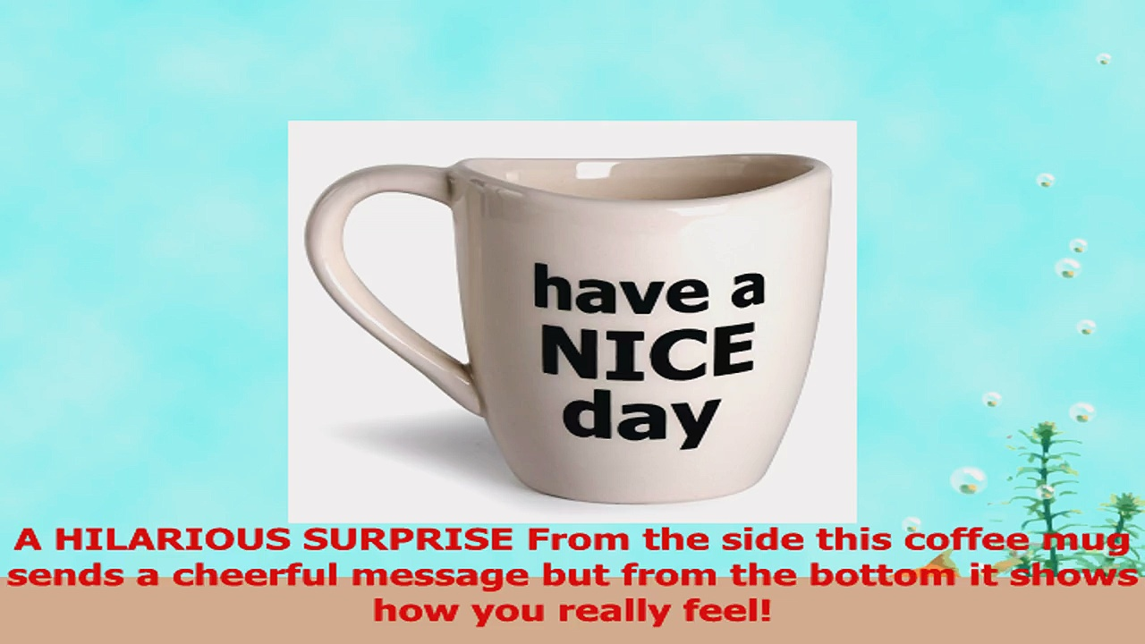 Have a Nice Day Coffee Mug Funny Cup with Middle Finger on the Bottom 14 oz  by Decodyne be020134