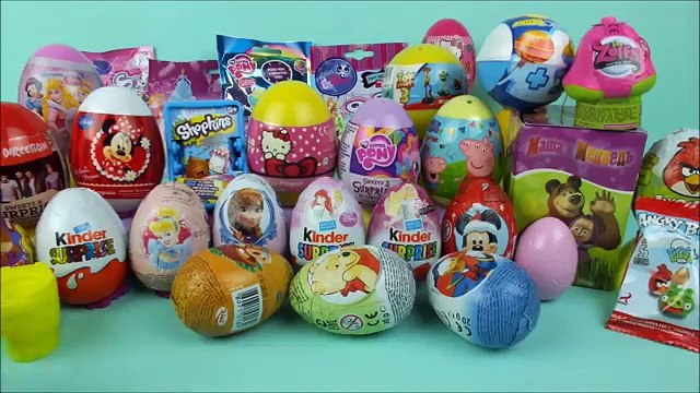 35 surprise eggs Shopkins Disney toys Masha i Medved LPS Frozen Hello Kitty