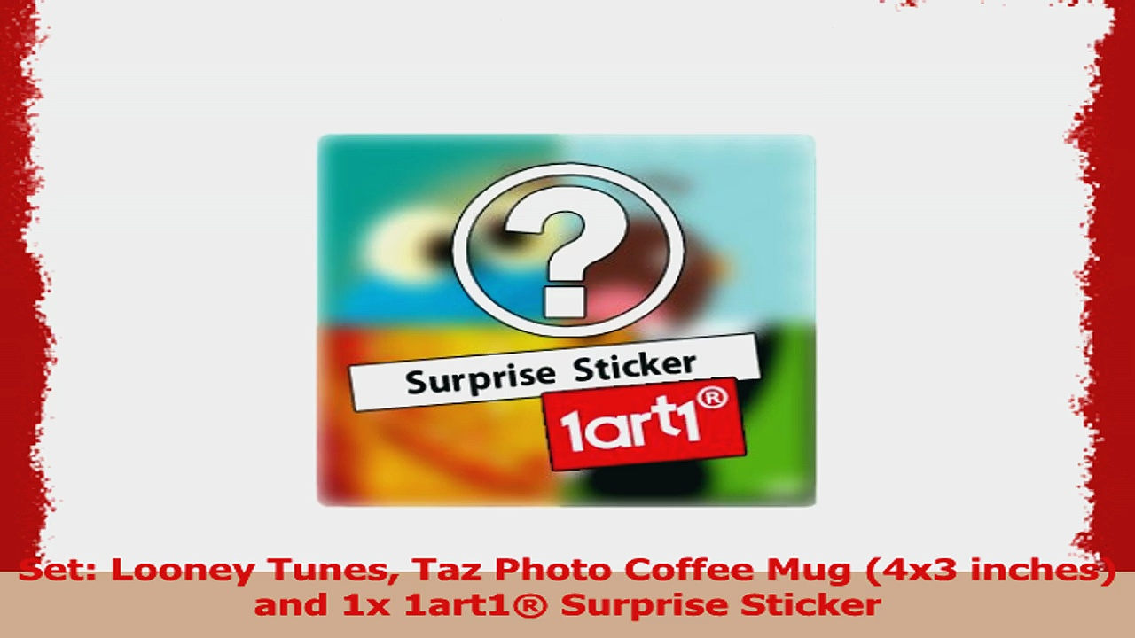 Set Looney Tunes Taz Photo Coffee Mug 4×3 inches and 1x 1art1 Surprise Sticker 5b7ec9f4