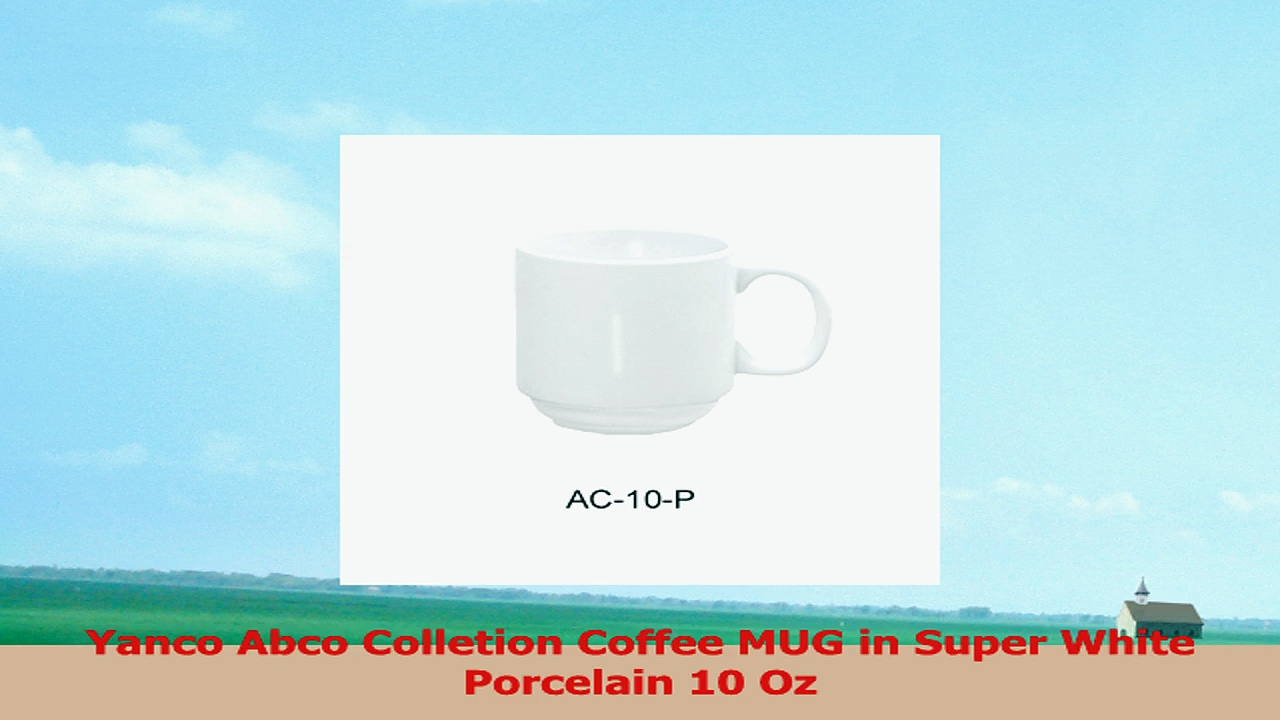 Yanco Abco Colletion Coffee MUG in Super White Porcelain 10 Oz 2ce712bf