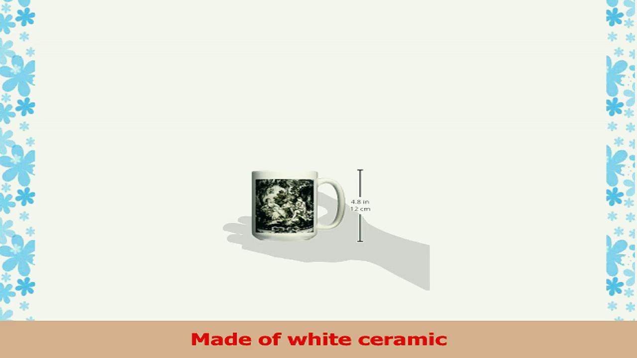 3dRose Black and White French Toile II Ceramic Mug 15Ounce 0a3a853d