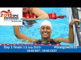 Day 1 finals | 2015 IPC Swimming World Championships, Glasgow