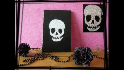 Créer un joli tableau tendance skull  tête de mort pailleté
