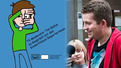 Timster Moderator Tim im Gespräch mit den Reportern der Kinderfilmuniversität Babelsberg