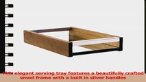 Tea Coffee Wine Bamboo Wood Serving Tray with Mirror Glass Small a8a16031