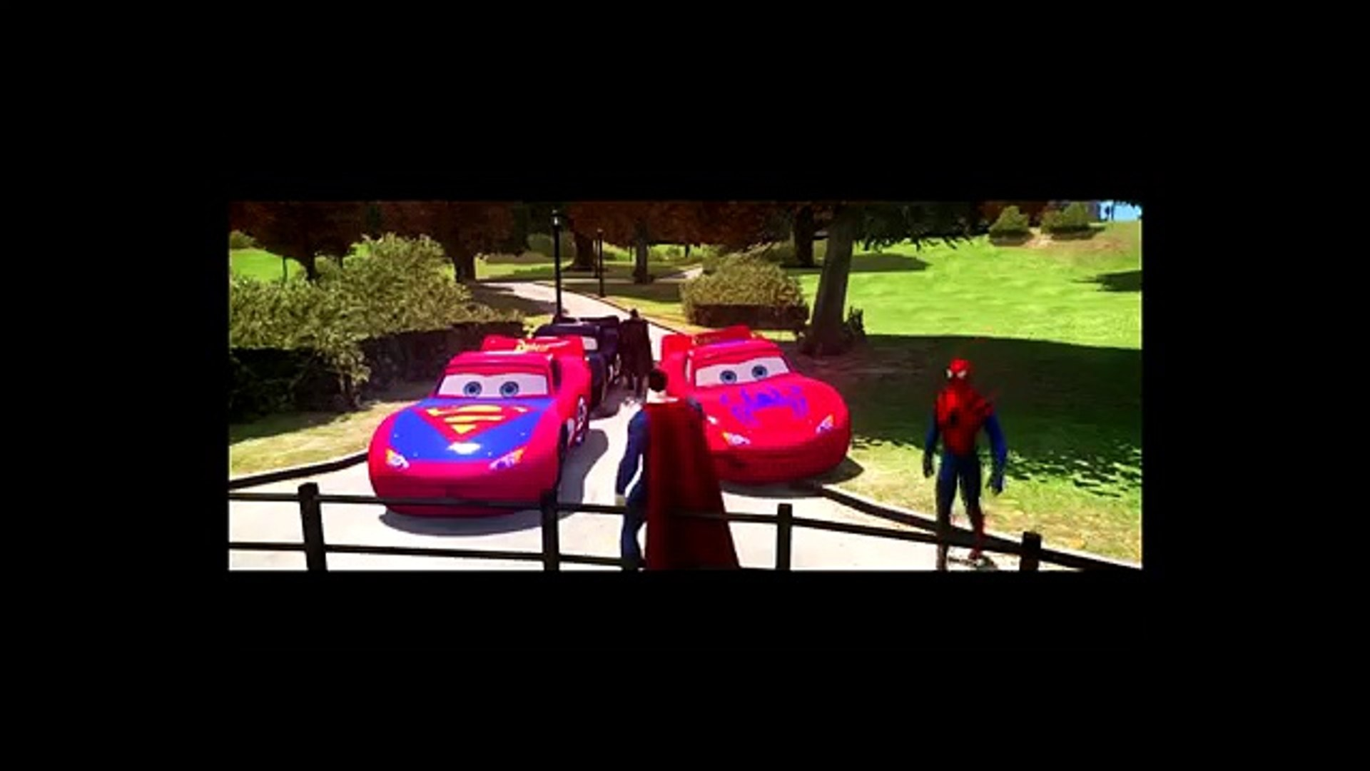 Batman, Superman & Spiderman Custom Cars Race Track Lightning Mcqueen Cars Rayo Macuin1