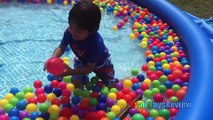 Huge surprise toy giant egg hunt task of enormous ball pit