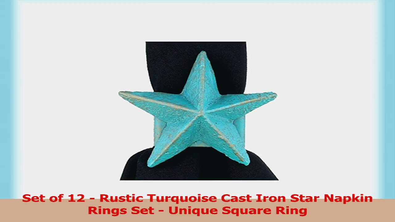 Set of 12  Rustic Turquoise Cast Iron Star Napkin Rings Set  Unique Square Ring 72b4fcef