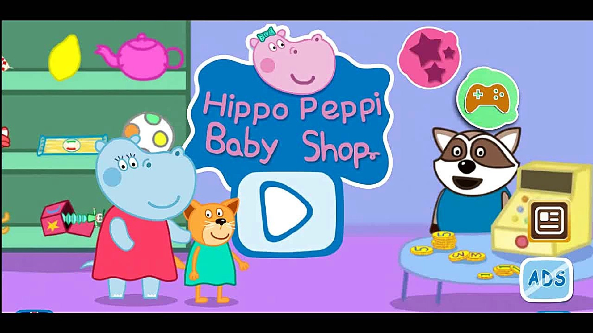 Hippo Peppi Baby Shop, Kids learn Pay in the Shop, Education App Gameplay for Kids