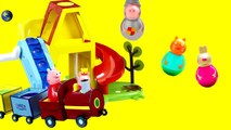 Peppa Pig Weebles Wobbly Train Inside Out Fun Toys Play fazendo arranjo de balão para deco