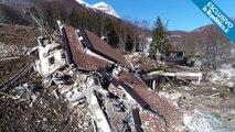 L'hotel dévasté par une avalanche en Italie filmé par un drone un mois après le drame